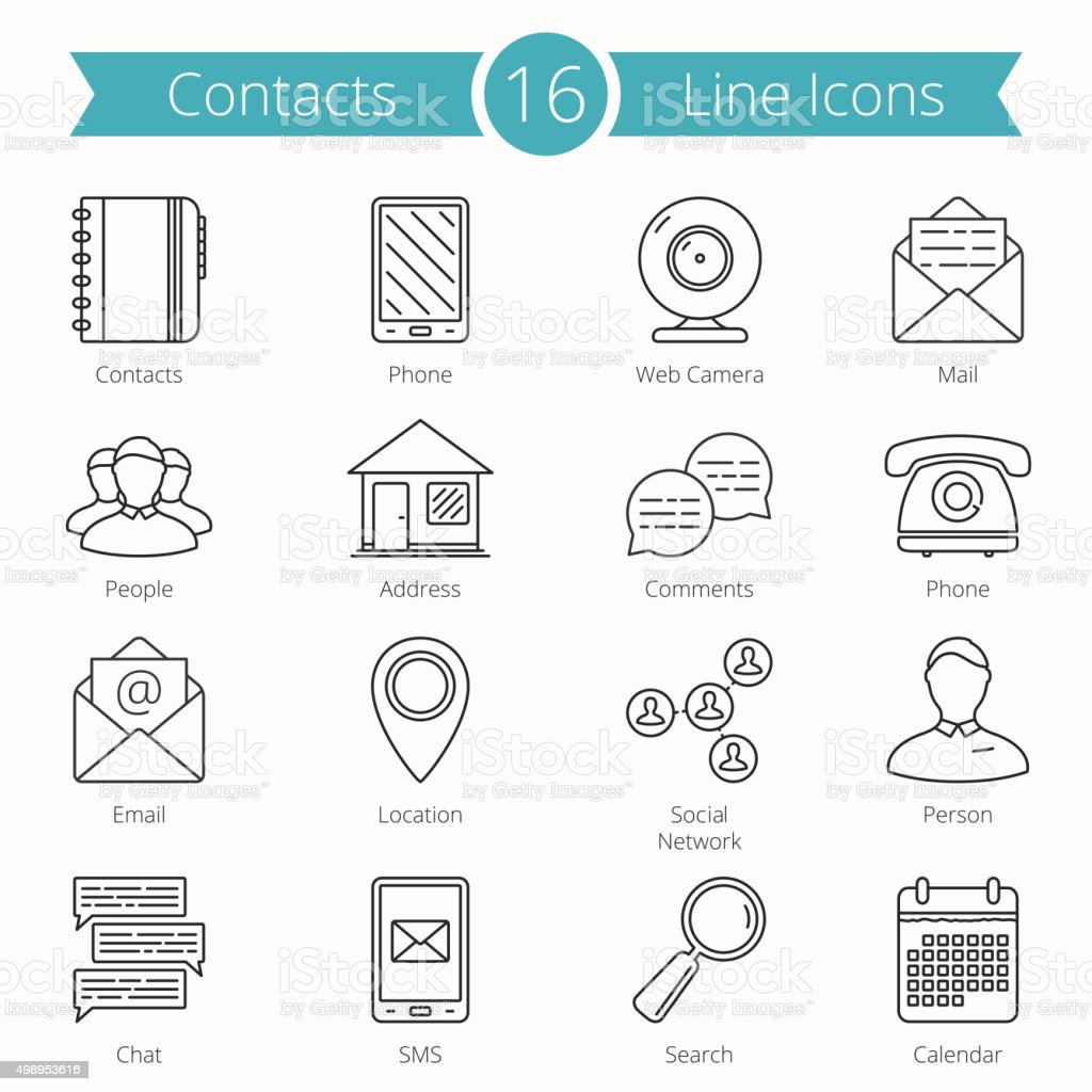 Contacts Line Icons vector art illustration