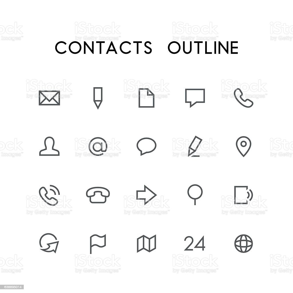 Contacts outline icon set vector art illustration