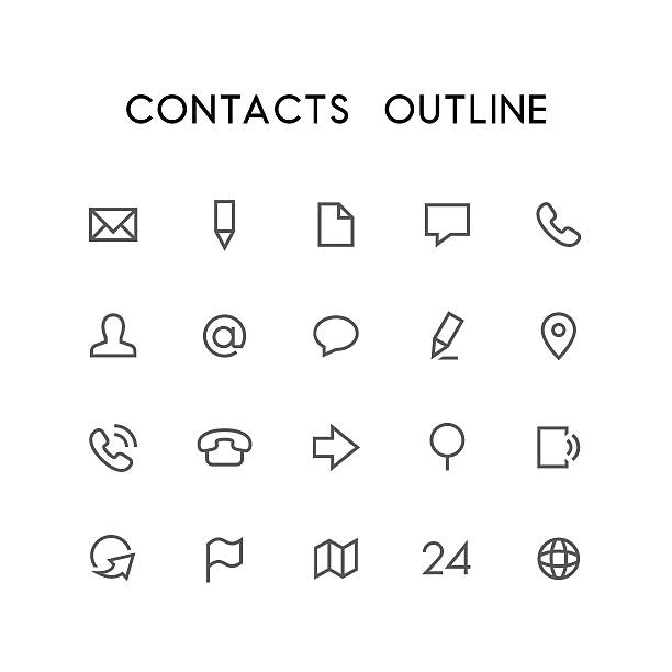contacts outline icon set - email icon stock illustrations, clip art, cartoons, & icons