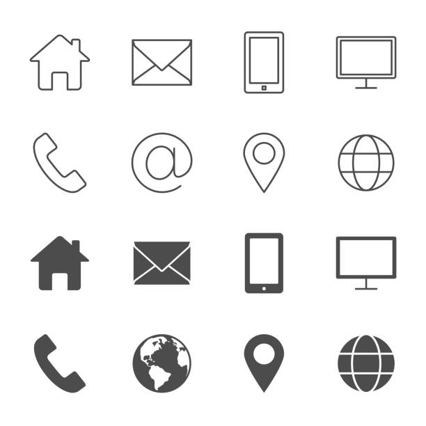 Contacts vector icons outline style an silhouettes Contacts vector icons outline style an silhouettes phone stock illustrations