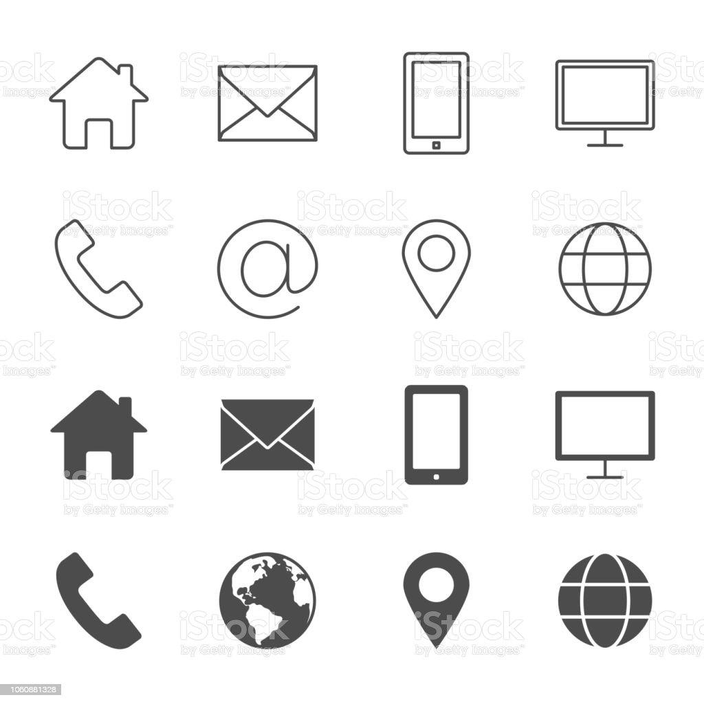 Estilo de esquema de contactos vector iconos una siluetas - ilustración de arte vectorial