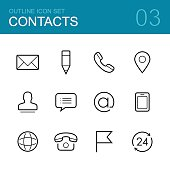 Contacts vector outline icon set