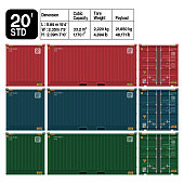 istock Container 20 ft. standard ( front ,side,back) . Dimension of the container is accurate refer to the table. 1138002717