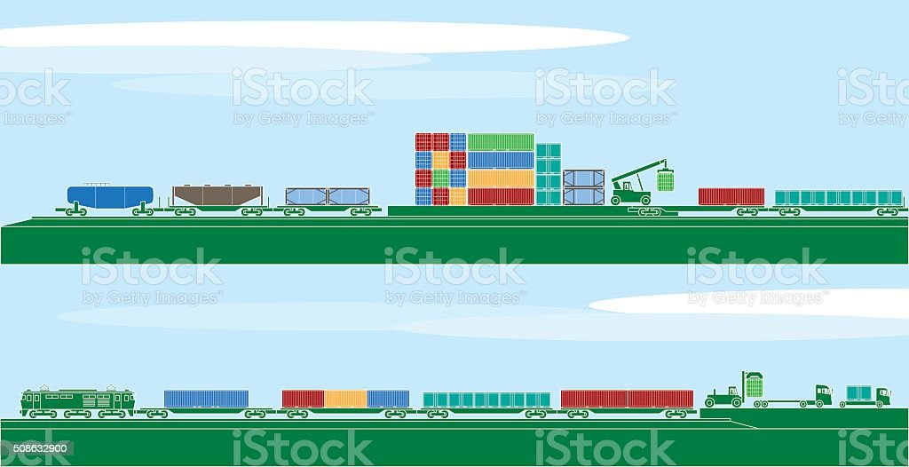 Container freight vehicles and logistics vector art illustration