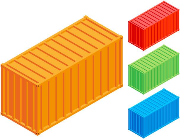 stockillustraties, clipart, cartoons en iconen met container isometrische - vrachtcontainer