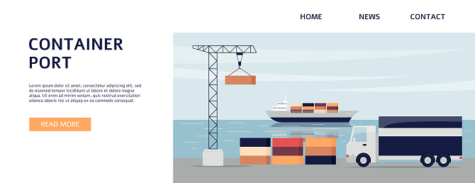 Container port banner with lorry truck on cargo bay with crane and ferry