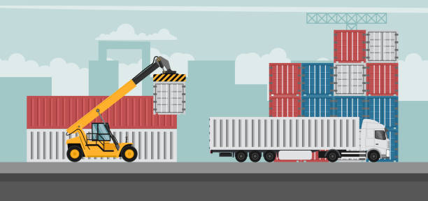 Container port terminal design background for export. Container trucks working Container port terminal design background for export. Container trucks working hooikoorts stock illustrations