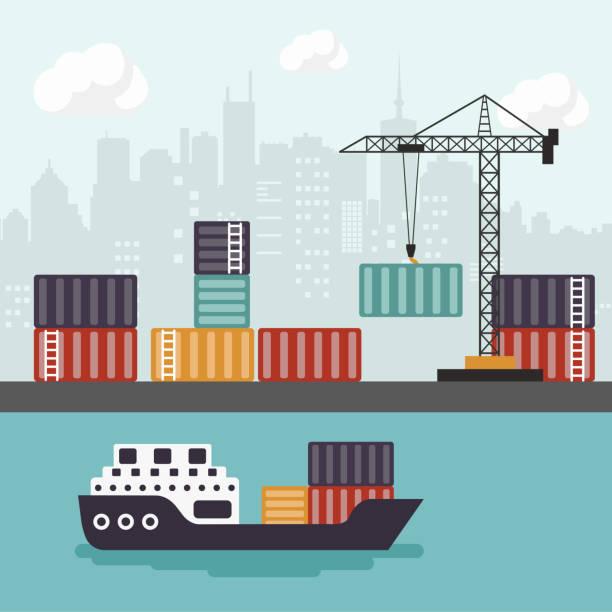 bildbanksillustrationer, clip art samt tecknat material och ikoner med containerfartyg på frakt port terminal lossning. handelsflottan. flat vektorillustration - hamn