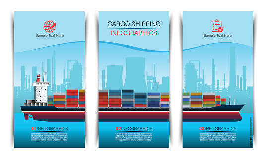 Container Ship Brochure Infographic