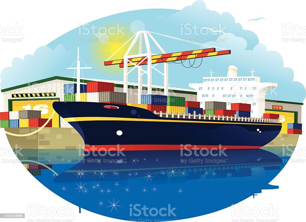 Container ship, dock crane and port warehouse royalty-free stock vector art