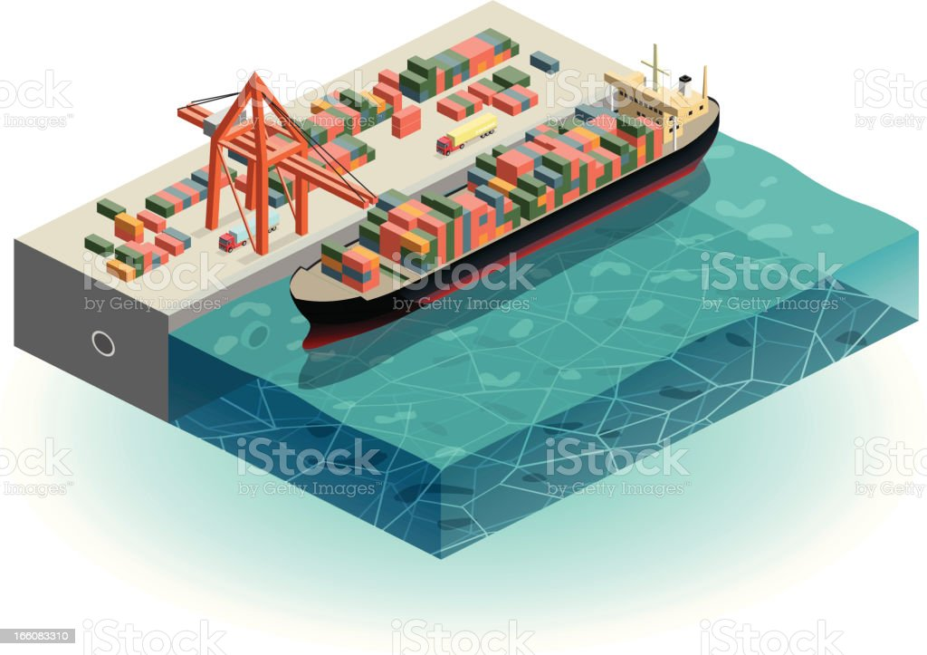 container ship in harbor royalty-free stock vector art
