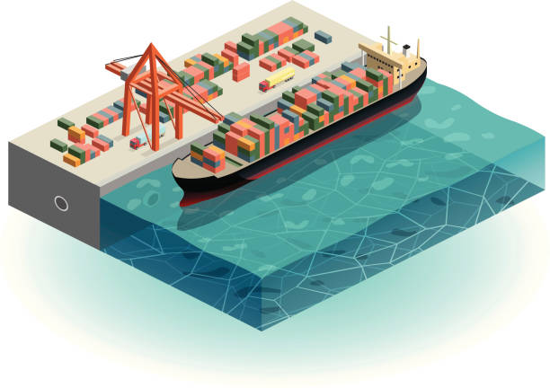 container ship in harbor vector art illustration