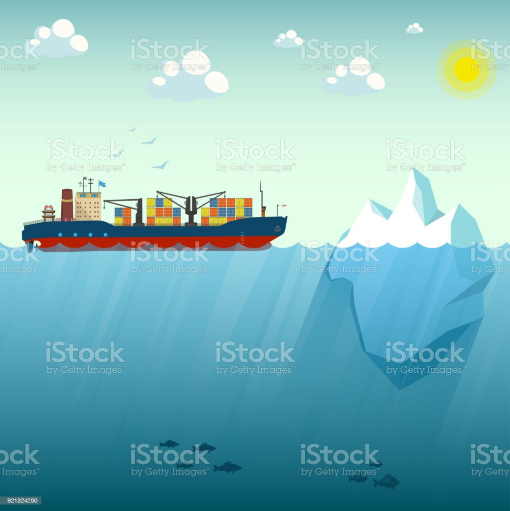 Container ship near the iceberg. Vector Illustration on the background of blue sky. Shows the upper and lower part of the sea. Over the water lit by the sun. At the depth of floating sea fish. vector art illustration