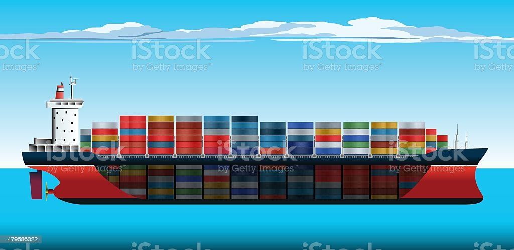 Container Ship Section vector art illustration