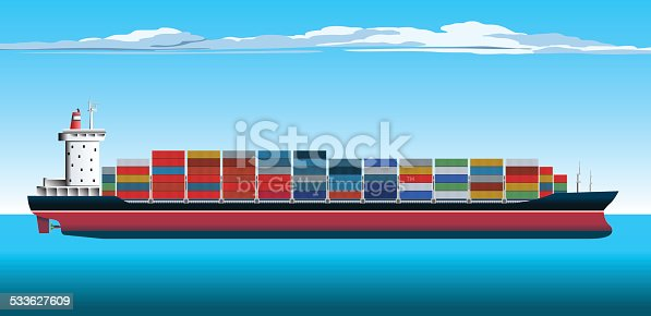 Large Fully Loaded Container Ship.