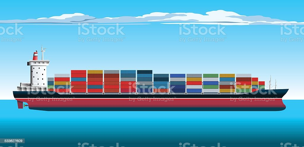 Container Ship vector art illustration