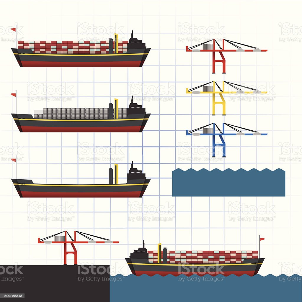 Container Ship with Crane Vector Illustration vector art illustration