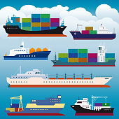 Vector illustration of a beautiful collection of Container Ships Freight Transportation