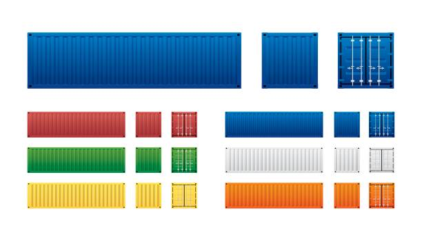 container Vector of colorful cargo shipping containers for freight transport and global logistics in different view isolated on white background. container stock illustrations