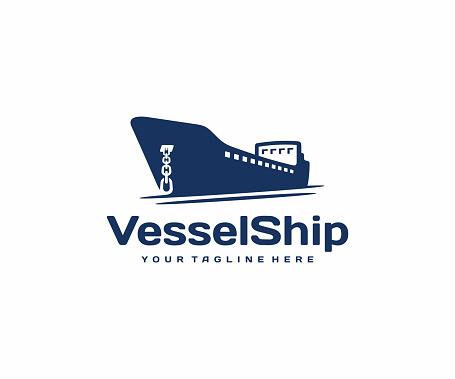 Container vessel with anchor, design. Tanker cargo ship vector design. Maritime transport illustration