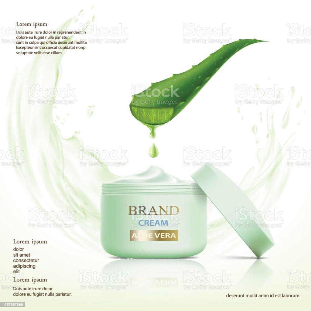 Container with cosmetic cream. Aloe vera leaf. vector art illustration