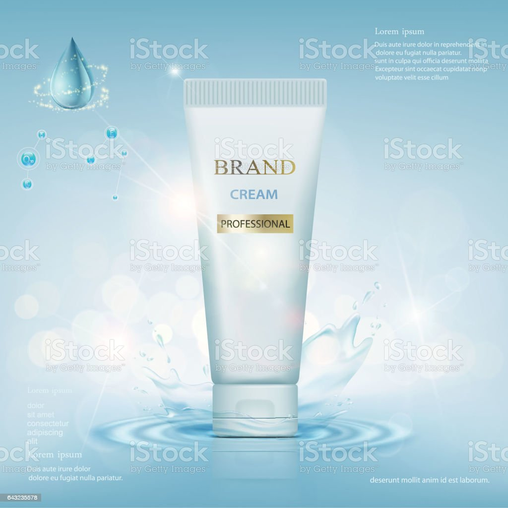 Container with cream on a background of water vector art illustration