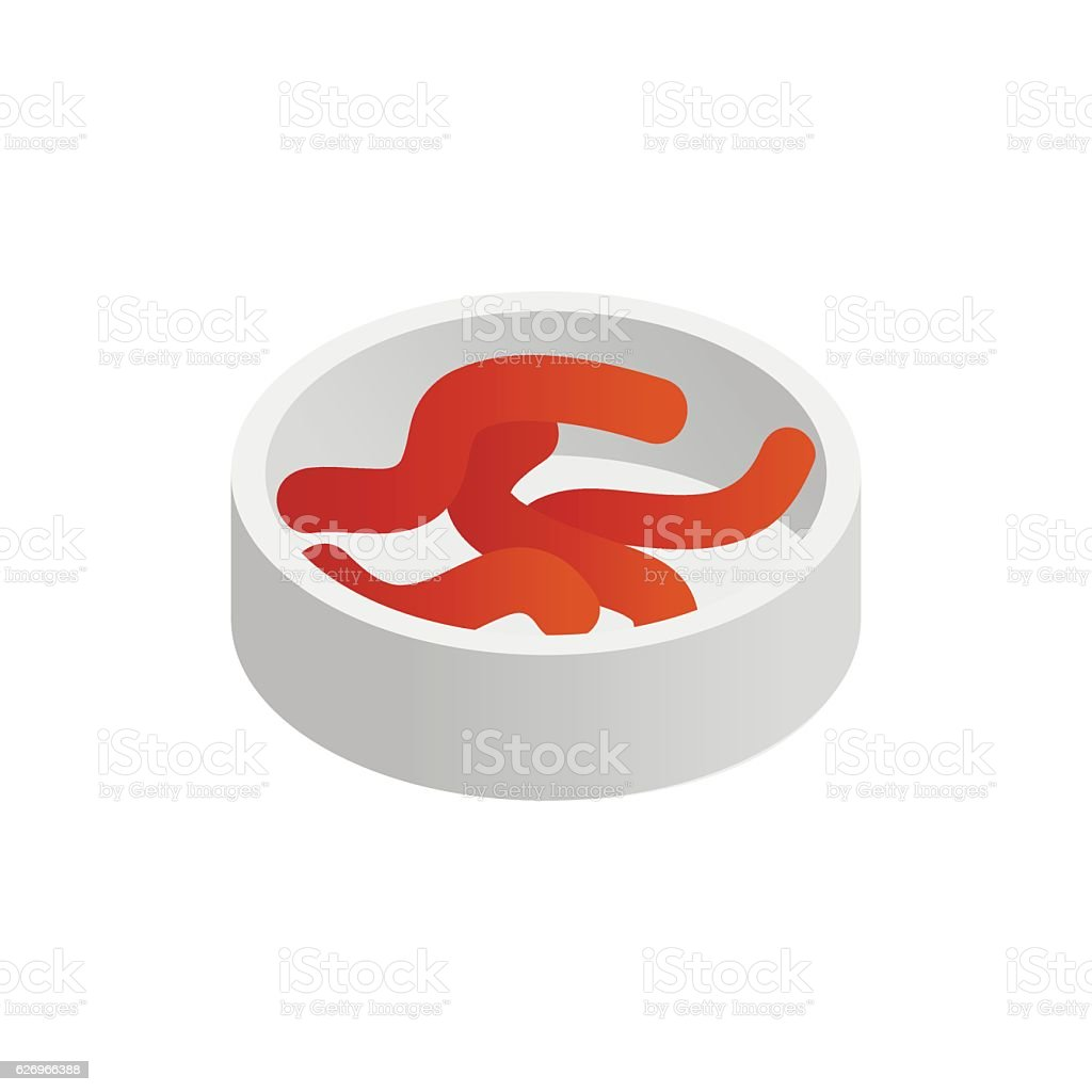 Container with earth worms isometric 3d icon vector art illustration