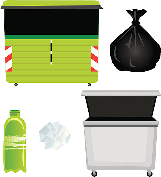 Containers and garbage vector art illustration