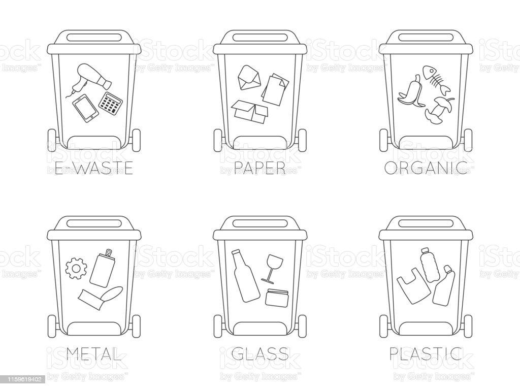 Container Für Müll Unterschiedlicher Art Set Von Mülltonnen ...