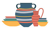 Jars and pots made of clay, handmade products, cookery items, traditional bowls and vases, amphora decorated with stripes ceramic bottles urns. Vector illustration in flat cartoon style