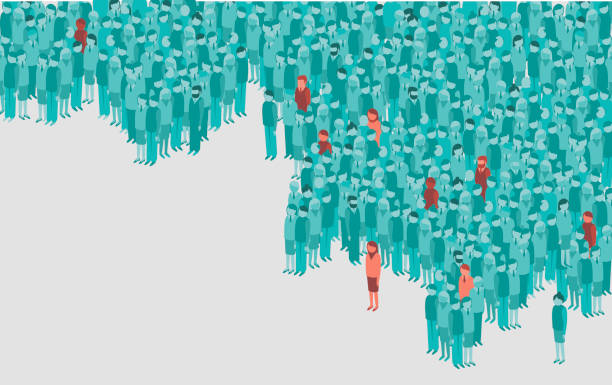 contamination in a huge crowd of people. Coronavirus COVID-19 pandemic concept vector art illustration