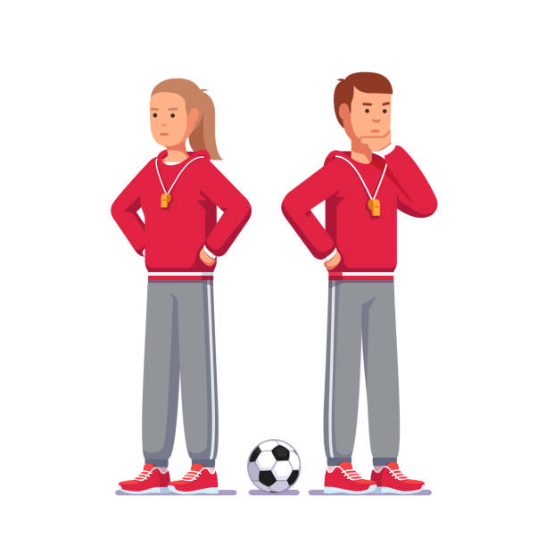 Contemplating soccer coach man and woman thinking standing next to soccer ball. Football game coach with whistle on lanyard wearing sports uniform. Flat style vector clipart Pensive soccer coach man and woman thinking standing next to soccer ball. Football game coach with whistle on lanyard wearing trainer uniform. Flat style vector clipart illustration isolated on white coach stock illustrations