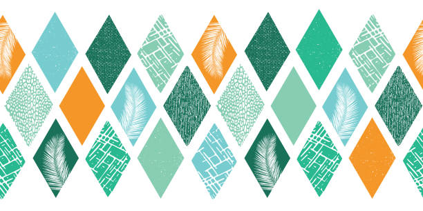 Contemporary abstract design for men. Rhombus shapes border seamless. Collage style vector pattern. Modern tropical summer geometric texture. Blue green teal orange shapes with palm leaf, animal skin vector art illustration