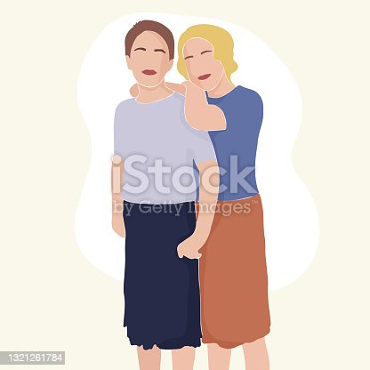 istock Contemporary abstract portrait of two women in a minimalist style. Girlfriends. One young girl embracing the other. Vector illustration 1321261784
