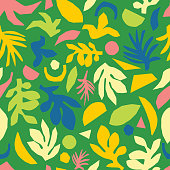 Contemporary abstract summer seamless vector background. Green pink yellow blue floral elements paper collage illustration. Scandinavian flat nature design for surface pattern design, web banner