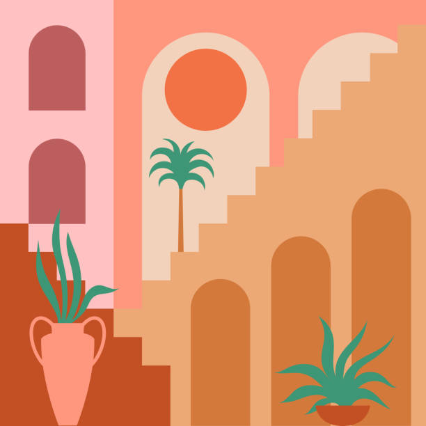 Contemporary aesthetic background with flat geometry architecture, Moroccan stairs, walls, arch, arc, plants, Sun. Boho style. Mid Century modern abstract print. Earthy tone, terracotta colors. Vector illustration morocco stock illustrations