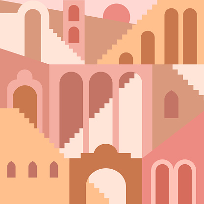 Contemporary aesthetic background with flat geometry architecture, Moroccan stairs, walls, arch, arc. Boho style. Mid Century modern abstract print. Earthy tone, terracotta colors. Seamless pattern.