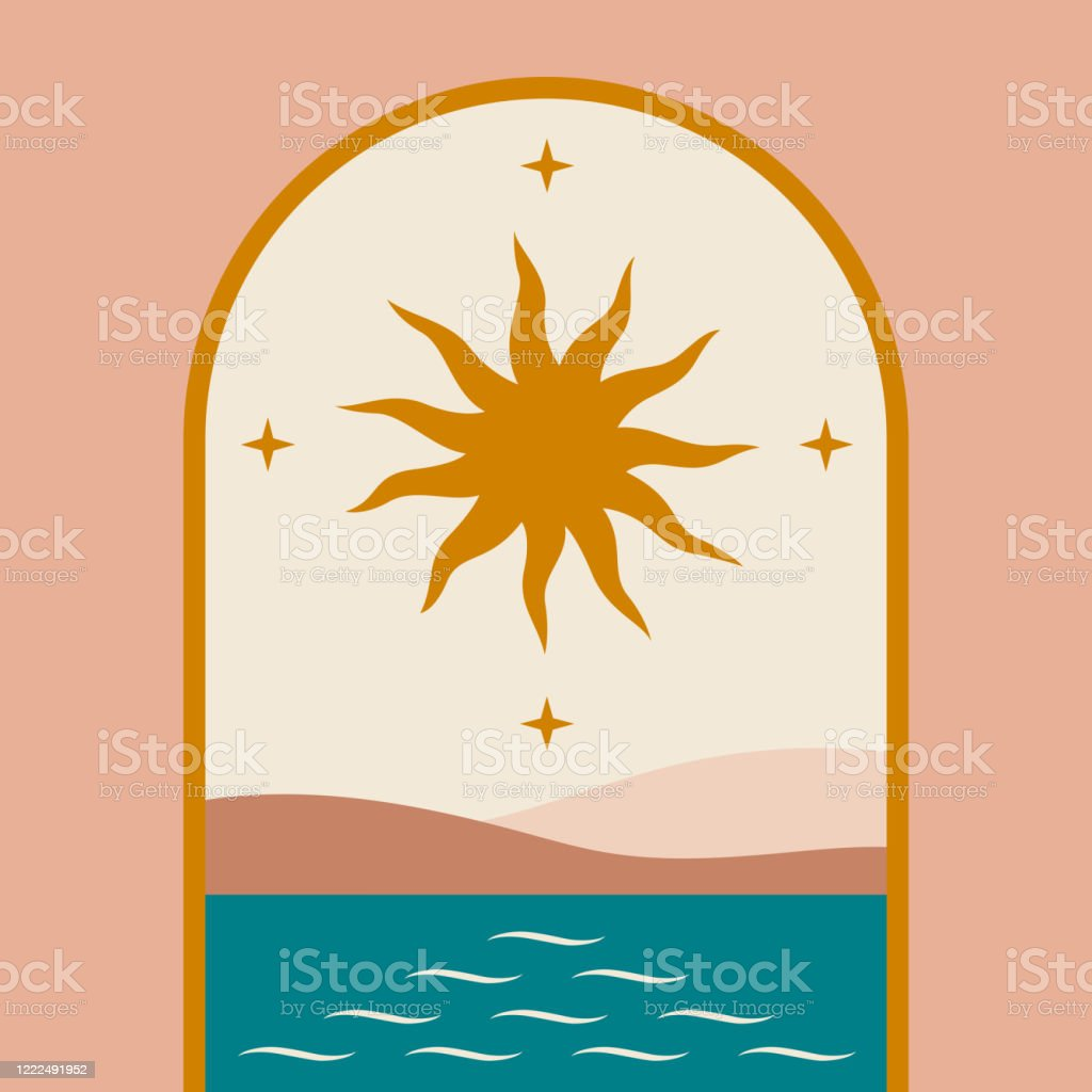 Contemporary Aesthetic Background With Flat Landscape Geometry Architecture Element Arch Arc Sun Stars Sea Abstract Print In Terracotta Colors Mid Century Modern Art Inspired Morocco Stock Illustration Download Image Now Istock