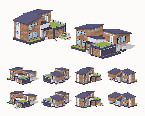 ilustrações de stock, clip art, desenhos animados e ícones de americana casa contemporânea - enjoying wealthy life