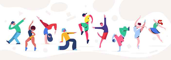 Contemporary and classical dancing set. Dancer character design. Flat vector illustration.