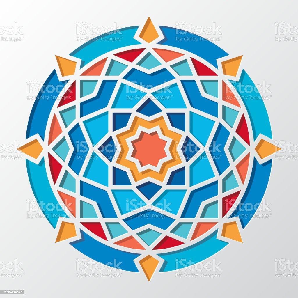 Cagdas Arapca Geometrik Yuvarlak Vektor Desen Duvar Kagidi Icin