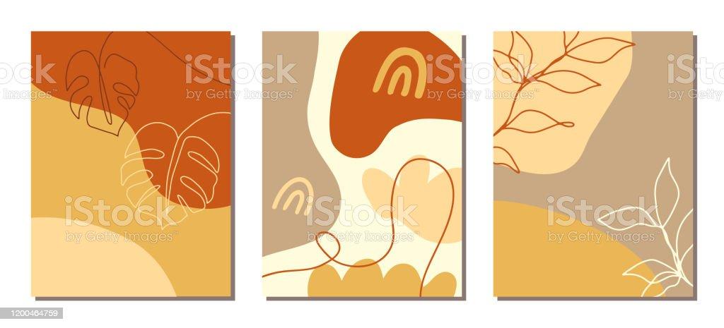 A arte contemporânea cobre o jogo. Colagem com formas abstratas e uma linha de desenhos florais - Vetor de Abstrato royalty-free