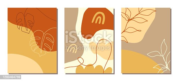 Contemporary art covers set. Collage with abstract shapes and one line floral drawings. Fashion stories templates, brochures, posters backgrounds, branding design, warm earthy colors, digital painting
