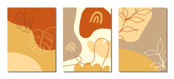 ilustrações, clipart, desenhos animados e ícones de a arte contemporânea cobre o jogo. colagem com formas abstratas e uma linha de desenhos florais - organic shapes