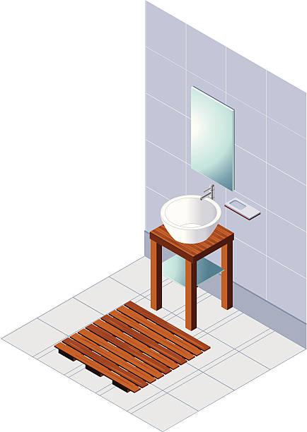 moderne blaue isometric badezimmer - spiegelfliesen stock-grafiken, -clipart, -cartoons und -symbole