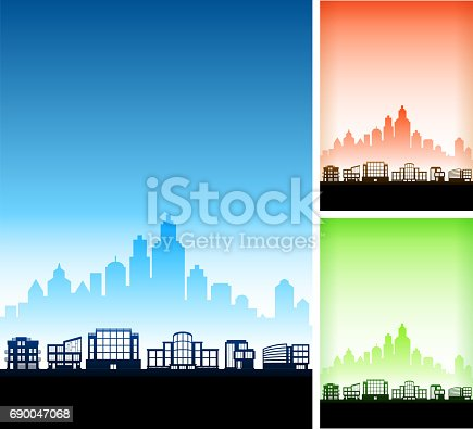 Contemporary Cityscape with Modern City Skyline Vector Background. This royalty free vector illustration features a silhouette of residential buildings and homes in the foreground with a cityscape set in the background. The image includes three variation, the main one in blue with alternate version in red and in green on the right. Each house or building can be used independently. There is also plenty of space for copy. Architectural details such as doors and windows make this a perfect option for your neighborhood announcements.