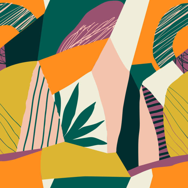Contemporary collage floral seamless pattern. Modern exotic jungle fruits and plants illustration in vector Modern exotic jungle fruits and plants illustration in vector. living organism stock illustrations