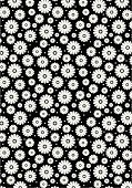 Contemporary daisy pattern in a repeat in black and white.