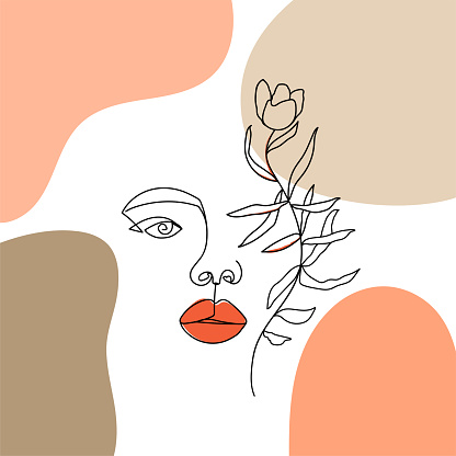 Contemporary design collage with one line woman face, abstract shapes and flower.