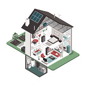 Contemporary energy efficient isometric house cross section and room interiors on white background, real estate and eco buildings concept